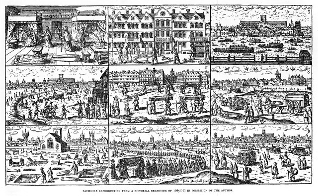 Scenes of London during the plague of 1665 (via Wellcome Images) (click to enlarge)