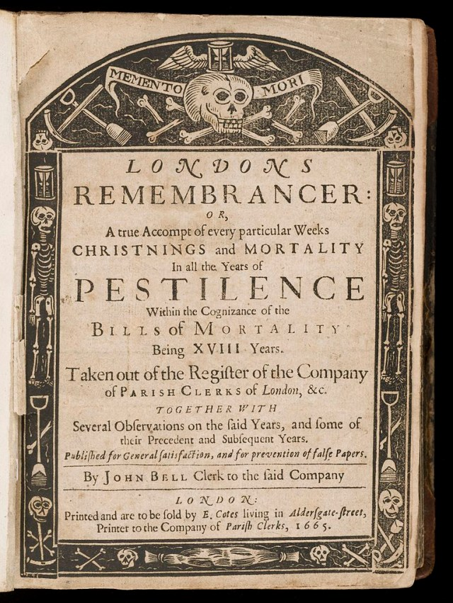 Title page for a collection of 'Bills of Mortality' (1665) (via Wellcome Images)