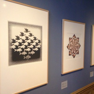 Prints on view at the Escher museum (photo by @escherinpaleis/Instagram)