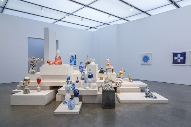 "Installation view of gallery with Arlene Shechet's abacá prints, the installation ""Once Removed"" (1998), and various other sculptures, at the Institute of Contemporary Art, Boston (photo @John Kennard)"