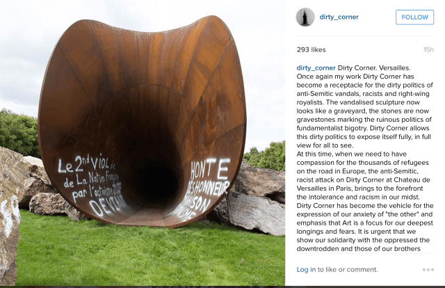 Anish Kapoor's Instagram account has posted images of the vandalism (via @dirty_corner)