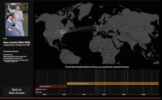 Screenshot from an in-gallery Art Tracks pilot, showing a timeline and location for an individual artwork (courtesy Carnegie Museum of Art)