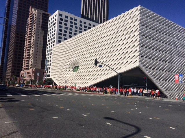 UTLA protesters at the Broad Museum, Sunday, September 20 (via facebook, used by permission)