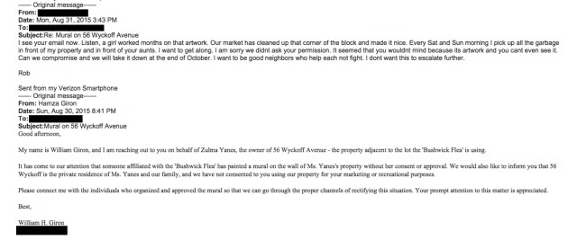 The email conversation between Will Giron and Rob Abner (image via Rob Abner) (click to enlarge)