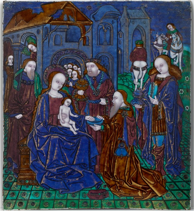 "Workshop of the Master of the Large Foreheads, ""The Adoration of the Magi"" (ca. 1510), enamel on copper, 10 ¼ × 9 1/8 inches (courtesy The Frick Collection, photo by Michael Bodycomb)"