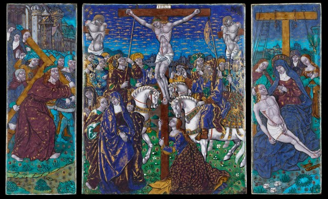 "Attributed to Jean Pénicaud I or the Master of the Louis XII, ""Triptych: The Crucifixion with The Way to Calvary and the Pieta"" (ca. 1525−35), enamel on copper. Central plaque: 10 3/16 × 8 3/4 inches; wings: 10 1/4 x 3 3/4 inches. (courtesy The Frick Collection, photo by Michael Bodycomb)"