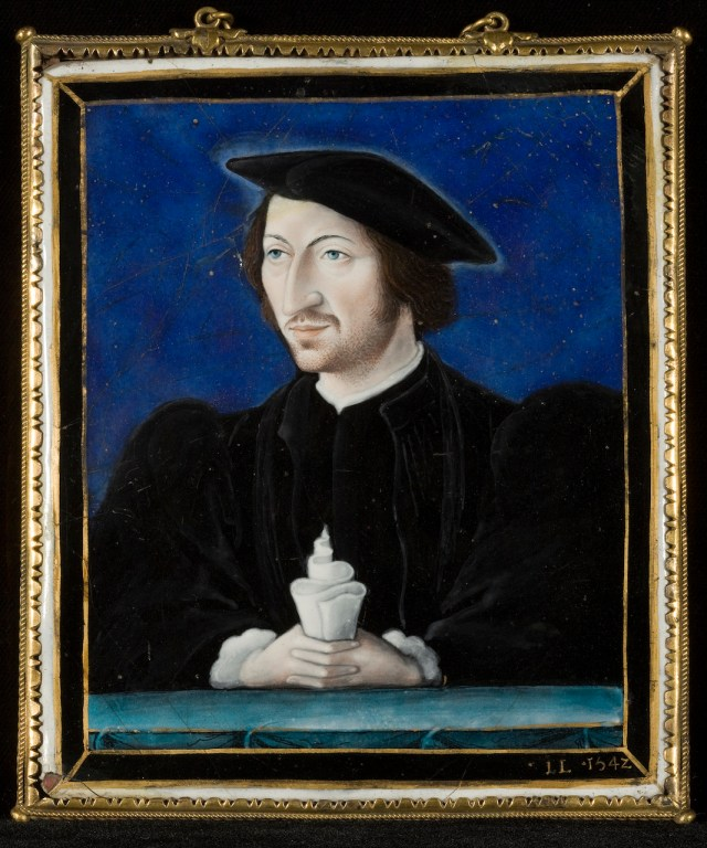 "Léonard Limousin (or Limosin), ""Portrait of a Man"" (1542), enamel on copper, 5 x 4 ¼ inches (courtesy The Frick Collection, photo by Michael Bodycomb)"