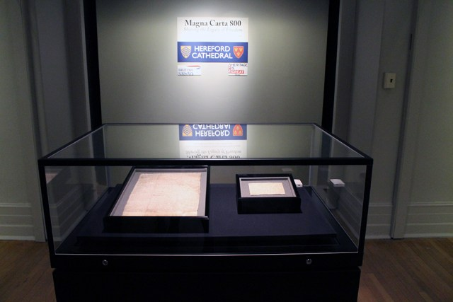 The 1217 Magna Carta installed at the New-York Historical Society (courtesy New-York Historical Society)
