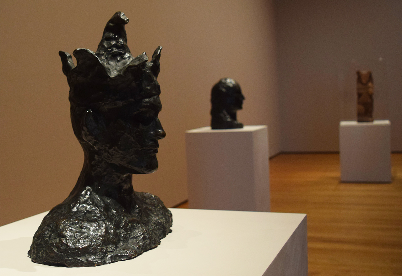 "Installation view of 'Picasso Sculpture' at the Museum of Modern Art with Pablo Picasso's ""The Jester"" (1905)"