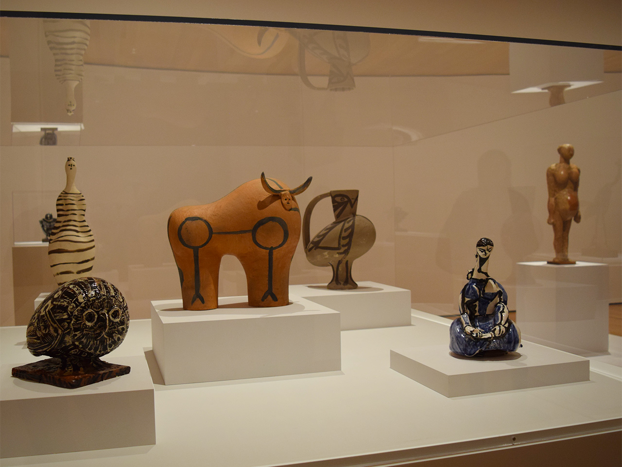 Installation view of Pablo Picasso's ceramic works from between 1945 and 1953 in 'Picasso Sculpture' at the Museum of Modern Art