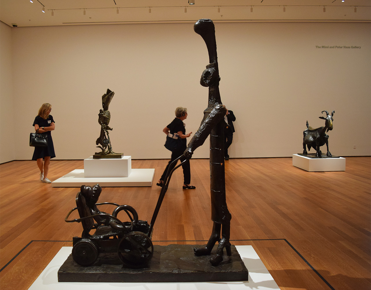 "Installation view of 'Picasso Sculpture' at the Museum of Modern Art with Pablo Picasso's ""Woman with a Baby Carriage"" (1950–54) in the foreground"