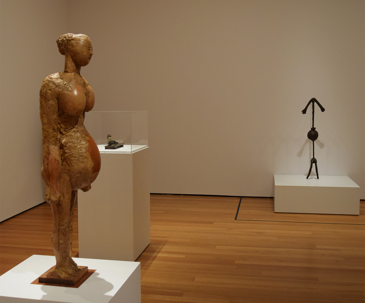 "Installation view of 'Picasso Sculpture' at the Museum of Modern Art with Pablo Picasso's ""Pregnant Woman"" (1950) at left and ""Pregnant Woman"" (1949) at right"