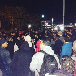 Warehouse workers rally on the evening of October 15 after allegedly being locked out of the Brooklyn Navy Yard building by B&H (photo via @peoplespowerassembliesnyc/Instagram) (click to enlarge)