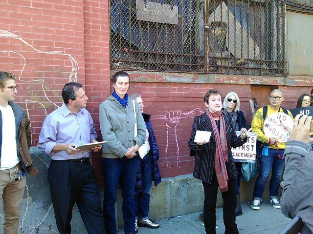 Jenny Dubnau (ASAP) speaking at the rally, and to her right is Abby Subak (executive director of Arts Gowanus), who is standing next to Council Member Brad Lander.