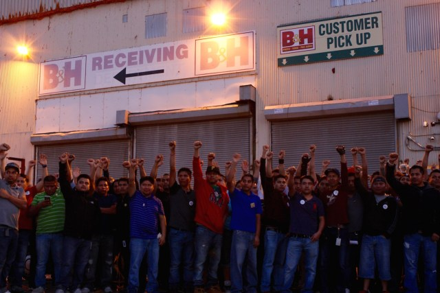 Workers rallying outside B&H's Brooklyn Navy Yard warehouse on October 15 (photo by Laura Gottesdiener, courtesy Laundry Workers Center)