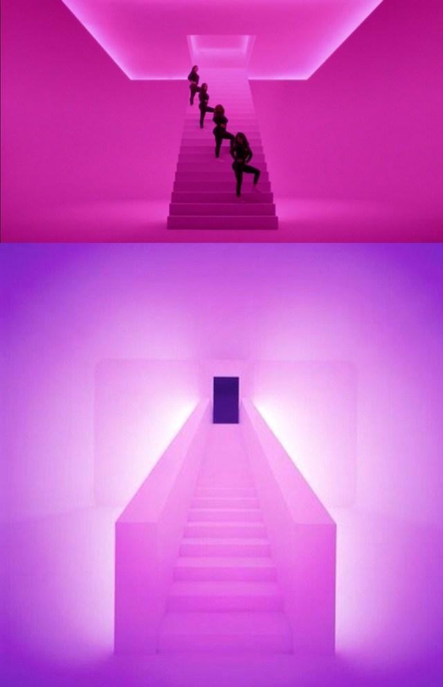 "Still from Drake's video with James Turrell's ""Twilight Epiphany"" (2012) (bottom photo via @evartology/Instagram)"