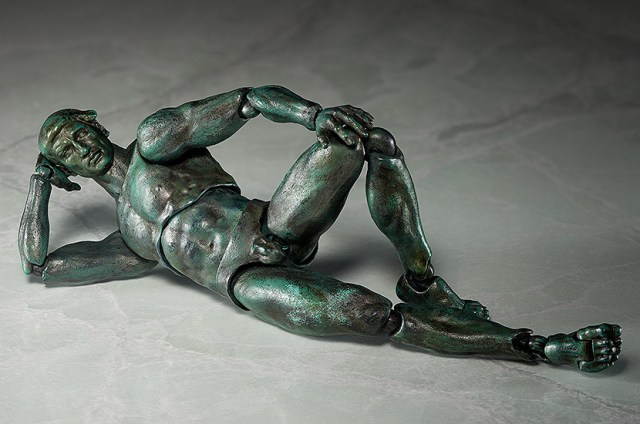 """FREEing's bronze """"The Thinker"""" action figure in a classical reclining nude pose"""