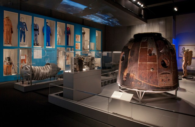 The Soyuz TM-14 descent module and the Outposts in the 'Cosmonauts' exhibition (courtesy Science Museum)