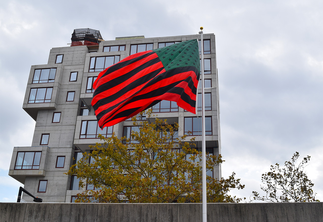 "David Hammons's ""African American Flag"" (1990) flies in the courtyard of MOMA PS1. (all photos by the author for Hyperallergic)"