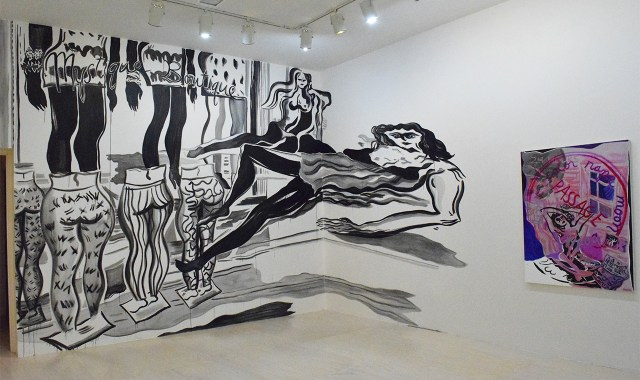"""Mira Dancy wall painting """"Broadway & Canal // Mystique Boutique"""" (2015, left) and painting """"Body Clock"""" (2015, right)"""