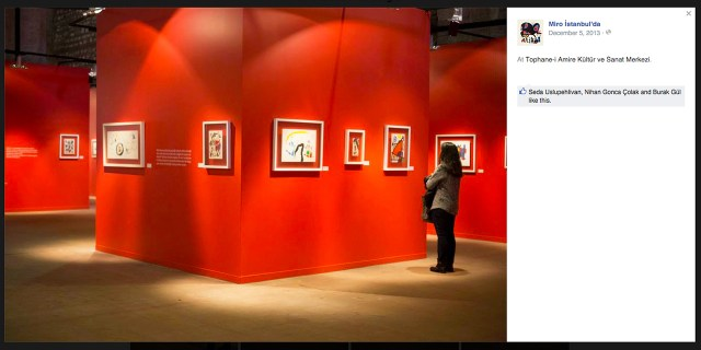Installation view of 'Miró in Istanbul' at Tophane-i Amire Culture and Arts Center (screenshot via Facebook)