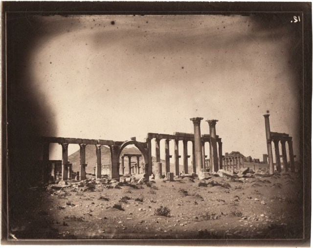 Great colonnade, Palmyra, Syria, albumen print, 1864 (negative by Louis Vignes, photograph printed by Charles Nègre)