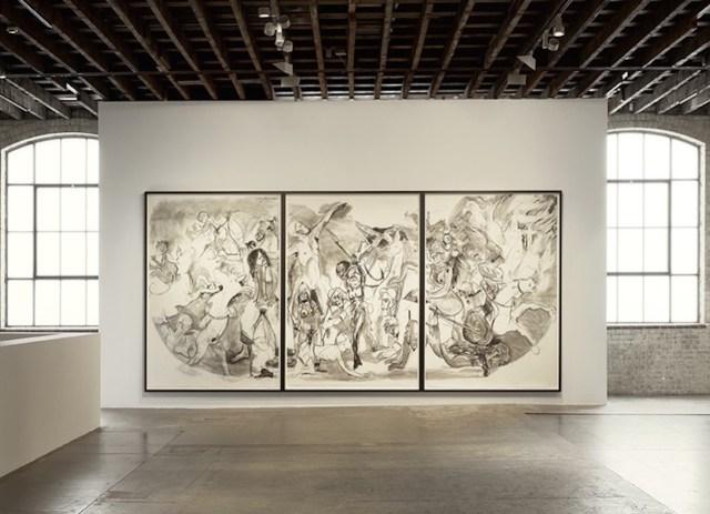 "Kara Walker, ""40 Acres of Mules"" (2015), mixed-media drawing"