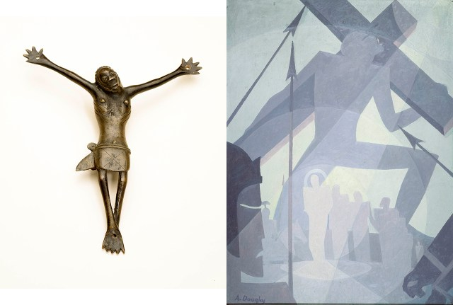 "Left: Kongo artist, Democratic Republic of the Congo, Crucifix (17th century), copper alloy, 8 1/2 x 6 7/8 x 1 3/8 in, National Museum of African Art, Smithsonian Institution, gift of Walt Disney World Co, a subsidiary of The Walt Disney Company (photo by Franko Khoury); right: Aaron Douglas, ""Crucifixion"" (1934), oil on Masonite, 48 x 36 in, Collection of Camille O. and William H. Cosby Jr (photo by by Frank Stewart, © Heirs of Aaron Douglas / Licensed by VAGA, New York, NY)"