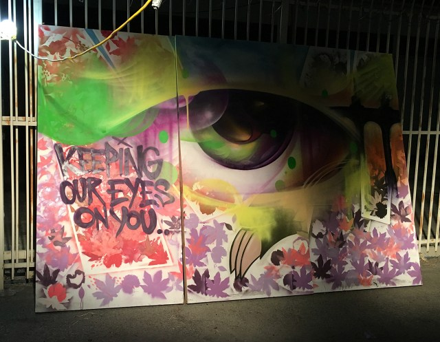 Graffiti art by Vyal Reyes at 'Ambularte' mobile art exhibit in Boyle Heights, Los Angeles