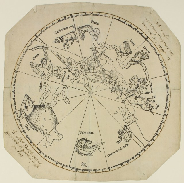 Southern hemisphere star map by Albrecht Dürer (courtesy Art Collections of the City of Nuremberg) (click to enlarge)