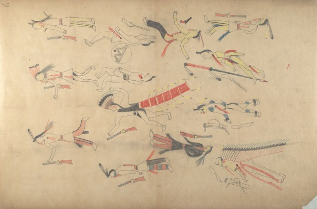 "Red Horse, ""Untitled from the Red Horse Pictographic Account of the Battle of the Little Bighorn"" (1881), graphite, colored pencil, and ink (NAA MS 2367A, 08570200, National Anthropological Archives, Smithsonian Institution)"