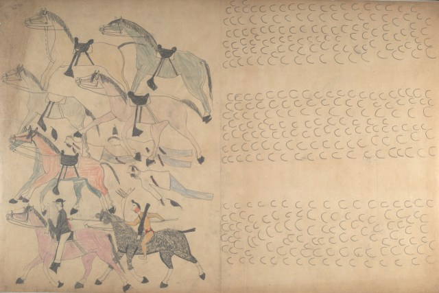 "Red Horse, ""Untitled from the Red Horse Pictographic Account of the Battle of the Little Bighorn"" (1881), graphite, colored pencil, and ink"