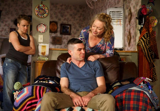 Tom Phelan (left), Cameron Scoggins (center), and Kristine Nielson (right) in Taylor Mac's 'Hir' at Playwrights Horizons