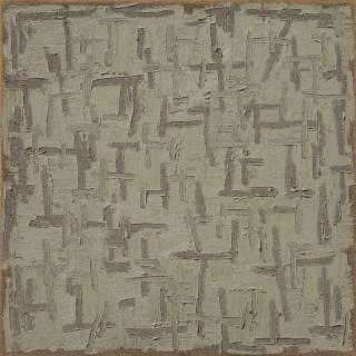 "Ha Chong-hyun, ""Conjunction 96-151"" (1996), oil on hemp cloth, 72.83 x 72.83 in. (courtesy Tina Kim Gallery)"