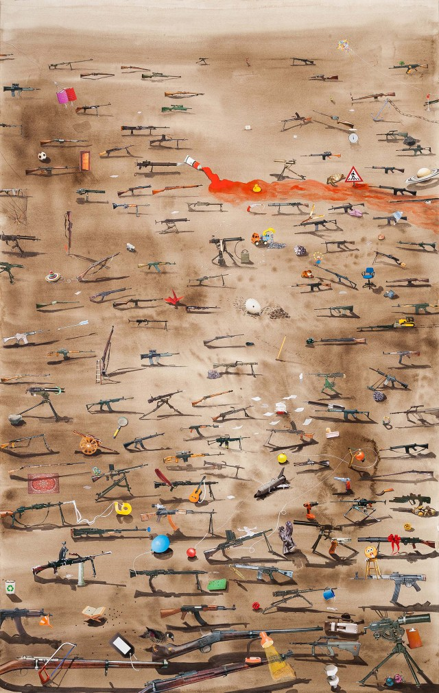 """Hema Upadhyay, """"Fish in a dead landscape"""" (2014), acrylic, gouache, poster color, dry pastels, charcoal, photographs, and copyright free images on paper, 72 x 48 in (photo by Anil Rane, image courtesy Chemould Prescott Road and the artist)"""