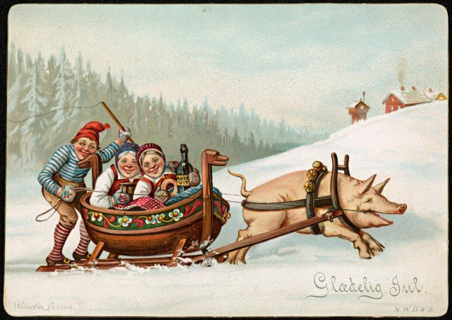Christmas card by Wilhelm Larsen (1890-92) (via National Library of Norway/Flickr)