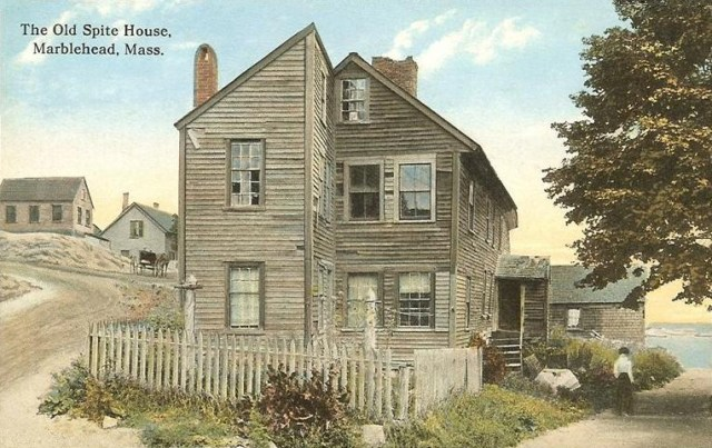 The Old Spite House in Marblehead, Massachusetts, constructed in 1715 by Robert Wood for the Graves brothers, who were quarreling fishermen (1912 postcard) (via Wikimedia)