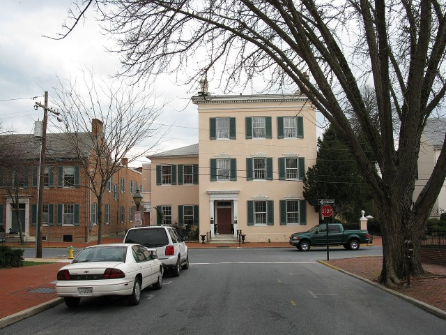 The Tyler Spite House in Frederick, Maryland, built to stop the construction of a road (photo by Thisisbossi/Wikimedia)
