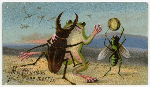 """May Christmas be Merry"" (19th-century Christmas card) (via Lilly Library at Indiana University, Bloomington)"