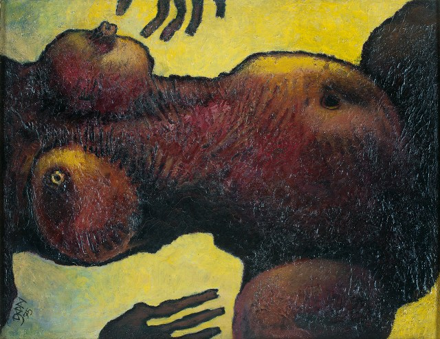 """Prokash Karmakar, """"Untitled"""" (1975), oil on mulberry tissue pasted on plywood, 15.5 x 20 inches"""