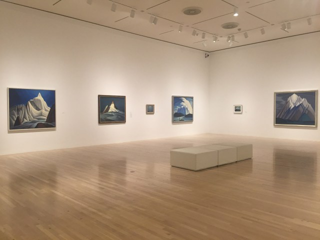 Installation view, 'The Idea of North: The Paintings of Lawren Harris' at the Hammer Museum