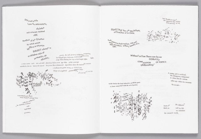 "Spread from Johanna Drucker's 'Stochastic Poetics' (2012), sewn in etched aluminum, 9 3/4 x 12 3/4"", published by Granary Books"