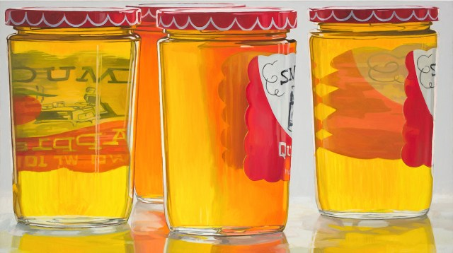 "Janet Fish, ""Smucker's Jelly"" (1973), oil on canvas, 36 x 64 in (all images courtesy of DC Moore Gallery, New York )"