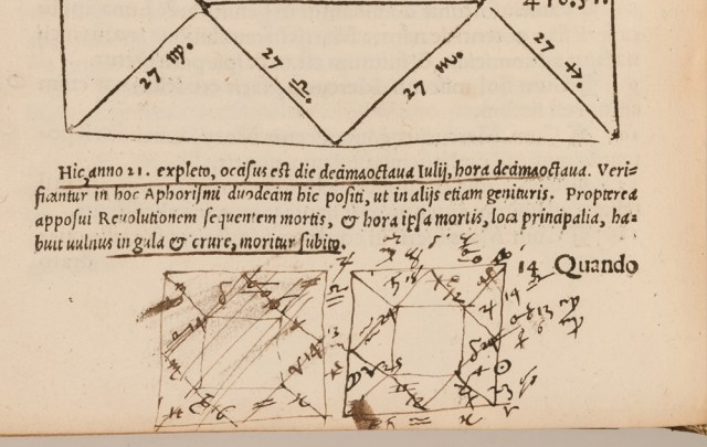 Two attempts at a horoscope chart, drawn in haste by John Dee in the margins of a book about astrology. (Girolamo Cardano, 'Libelli quinque,' published Nuremberg, 1547) (© Royal College of Physicians / John Chase)