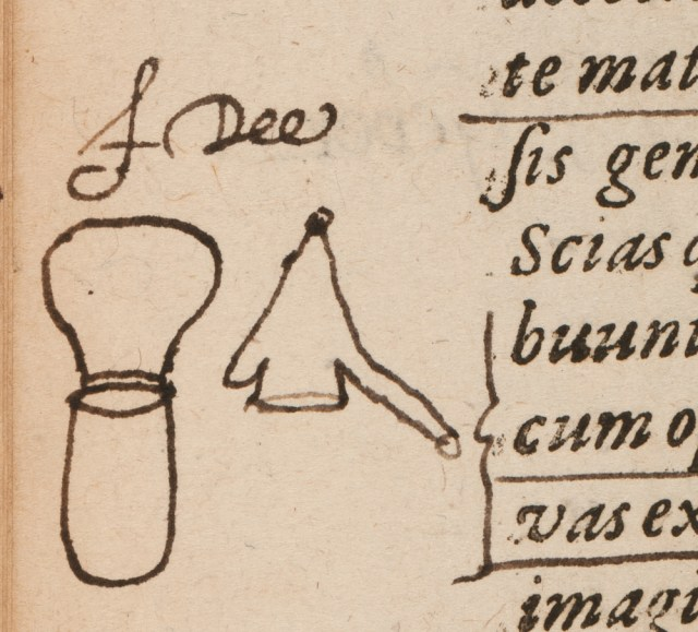 A sketch of alchemical equipment — an alembic — drawn and signed by John Dee in the margins of an alchemical treatise. (Petrus Bonus (attrib), 'Introductio in divinam chemiae artem integra,' published Basel, 1572) (© Royal College of Physicians / Mike Fear)