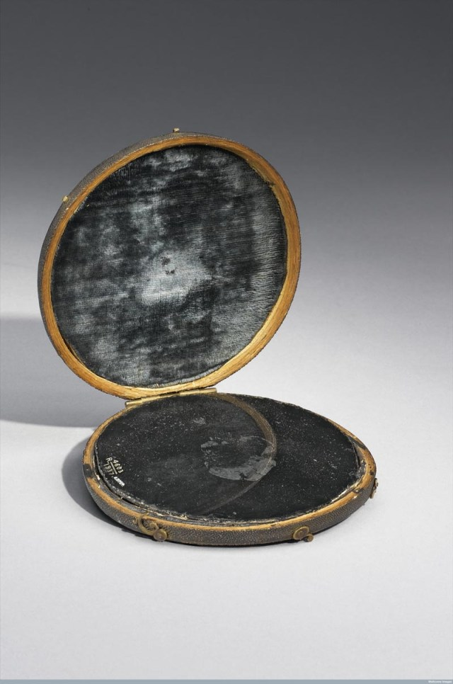 Claude Lorrain mirror in shark skin case, believed at one time to be John Dee's scrying mirror. (courtesy Science Museum, London / Wellcome Images)