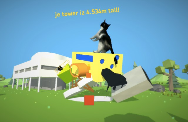 Building a tower in 'Le Petit Architecte' (screenshot by the author for Hyperallergic)