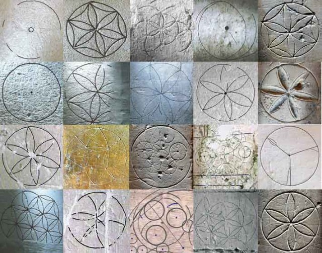 "Compass-drawn Hexfoil or ""Daisy Wheel"" designs from English medieval churches"