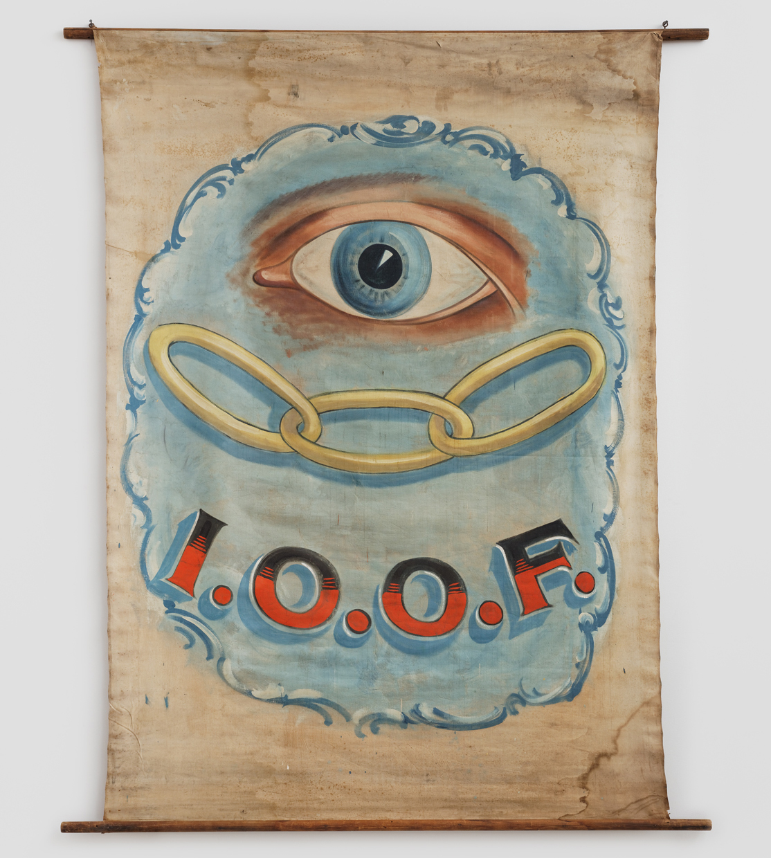 Independent Order of Odd Fellows Banner, Artist unidentified (United States, 1900–1920), paint on canvas, with wood and metal, 88 1/2 x 71 inches (courtesy American Folk Art Museum)