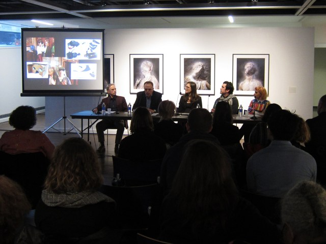 "Panelists speaking at the symposium, ""The Future of the Past: Digitizing Cultural Property in an Era of Destruction,"" held at John Jay College on January 22 (photo by the author for Hyperallergic)"